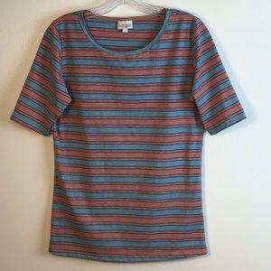LULAROE Women's Blouse Red/Blue/Gray Striped